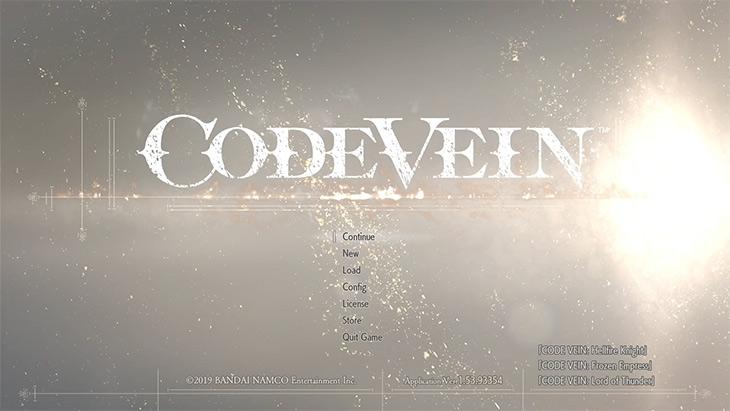 Code Veinのタイトル画面