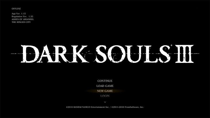 DarkSouls3のタイトル画面