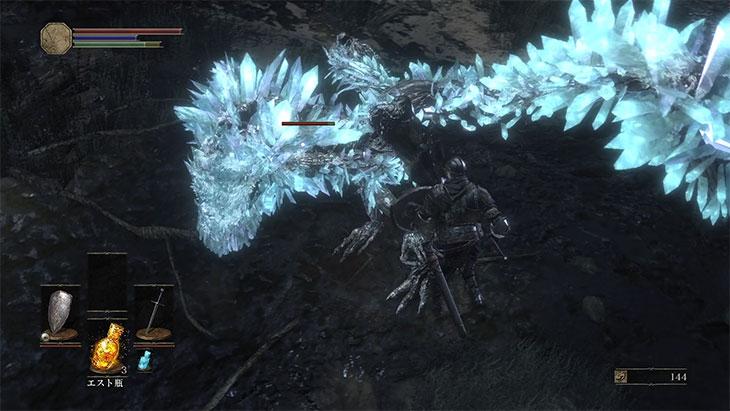 DarkSouls3の灰の墓所の巨大結晶トカゲ