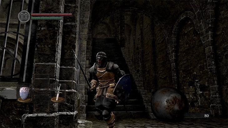 Dark Souls Remasteredの北の不死院の2階の鉄球トラップ