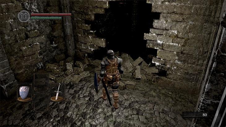 Dark Souls Remasteredの北の不死院の鉄球トラップで空いた穴