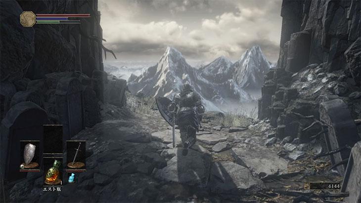 DarkSouls3の灰の墓所の遠景