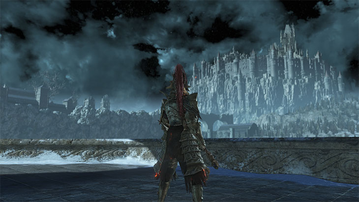 Dark Souls 3のアノールロンドから見たロスリック城