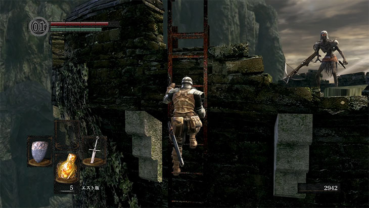 Dark Souls Remasteredの城下不死街のボス戦のタワー上の敵