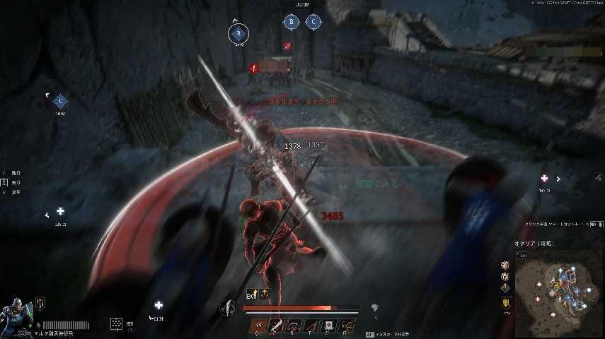 コンカラーズ・ブレードの偃月刀での戦闘風景