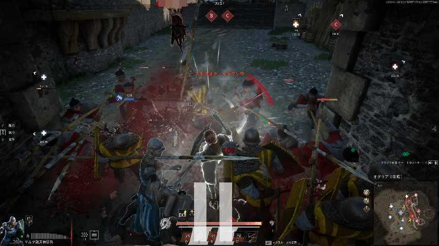 コンカラーズ・ブレードの刀盾の戦闘風景