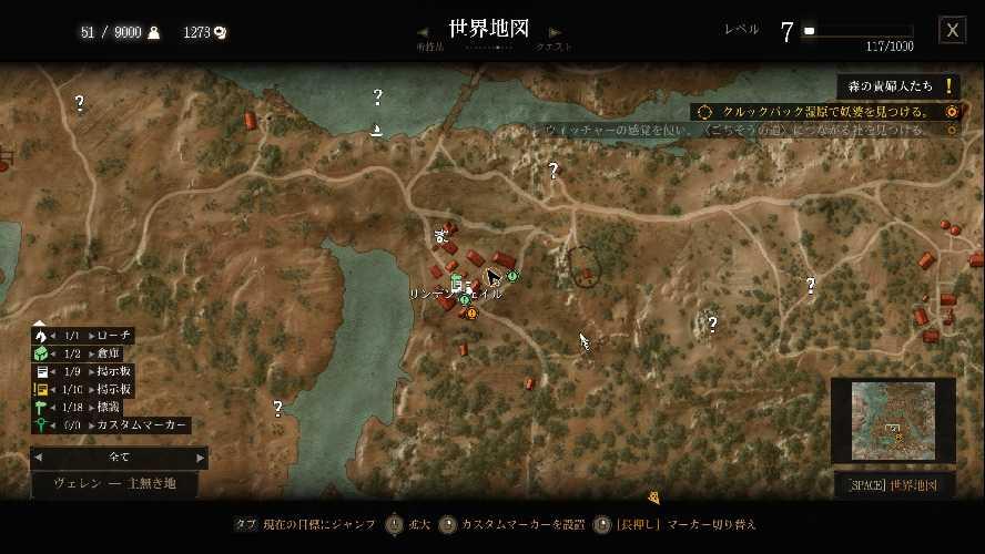ウィッチャー3のワールドマップ